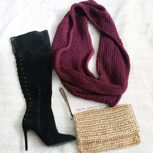 Accessories - Chunky Knit Purple Infinity Scarf